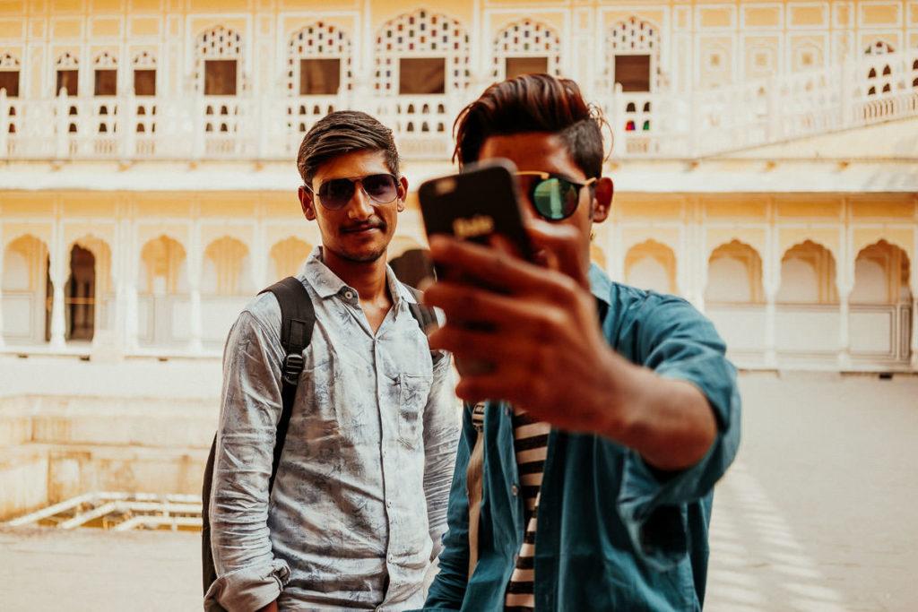 Selfie im Hawa Mahal, Jaipur