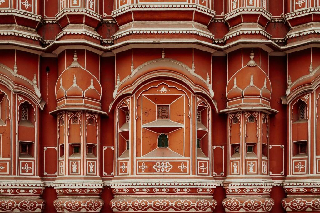 Detail am Windpalast, Hawa Mahal in Jaipur, Rajasthan