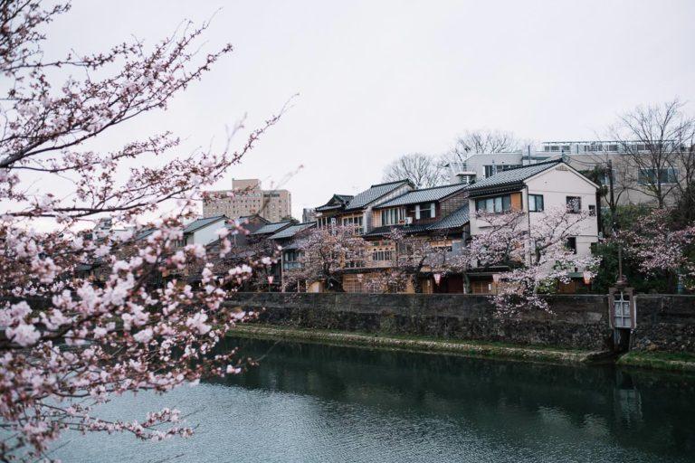 Häuser am Sai River in Kanazawa.