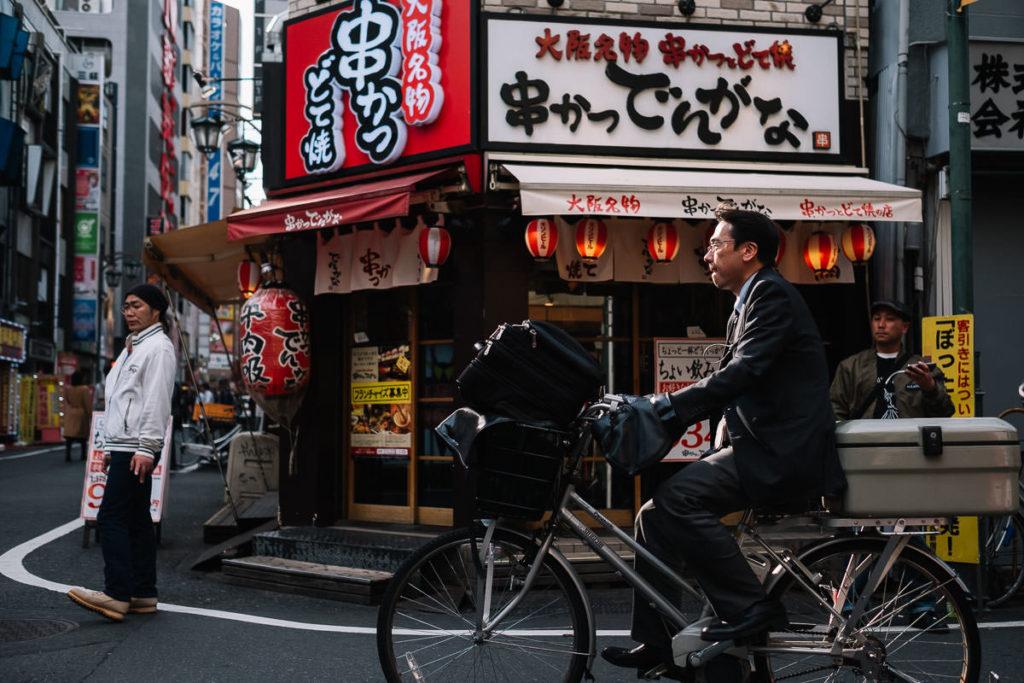 Fahrradfahrer in Tokio