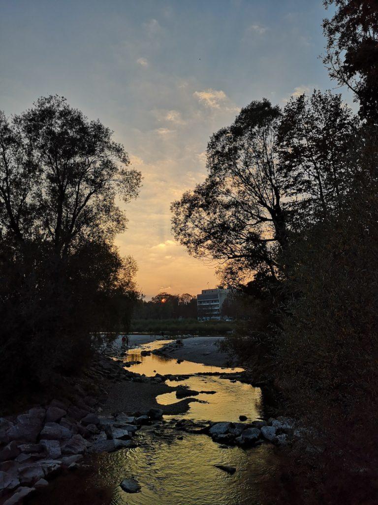Sonnenuntergang in Thalkirchen, München