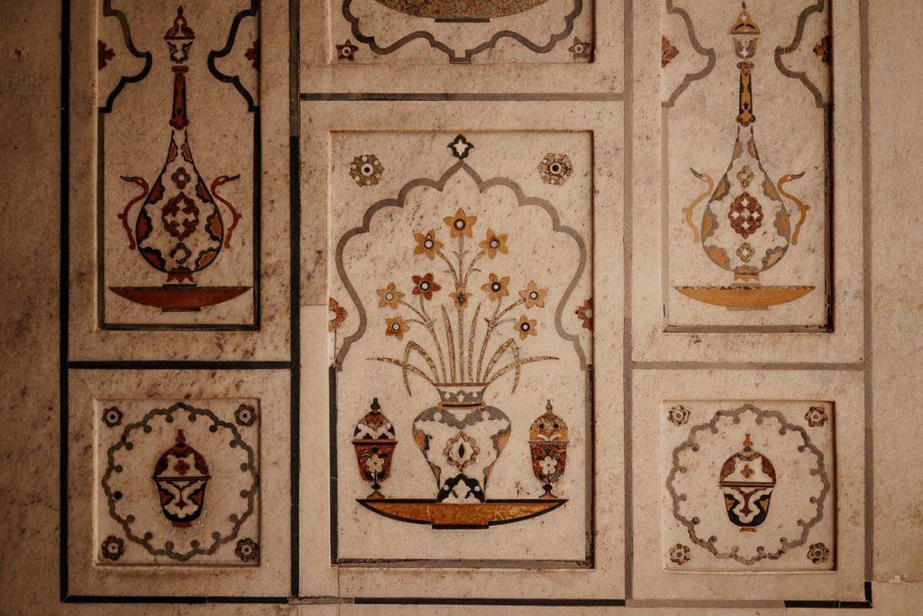 Verzierung im Itimad-ud-Daula-Mausoleum, Baby Taj, Agra