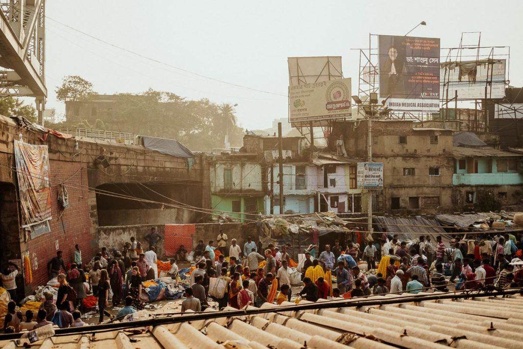 Voller Flower Market in Kolkata.