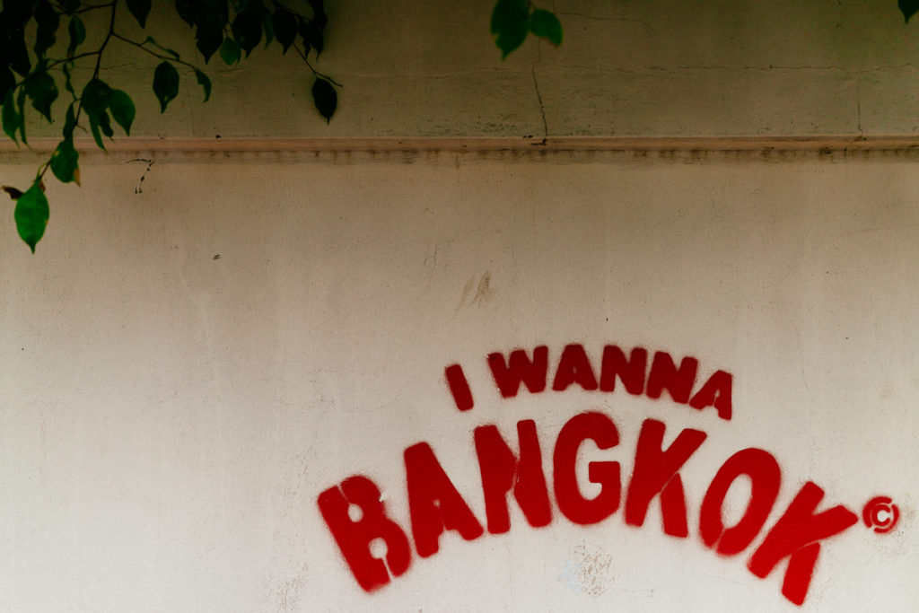 Graffiti in Ari in Bangkok: I wanna Bangkok