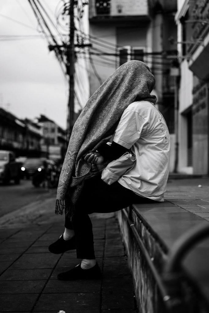 Warten und Verstecken in Bangkok-Chinatown